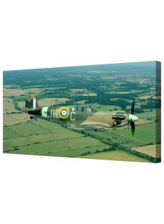 Majestic Spitfire In Flight Framed Canvas Wall Art Picture