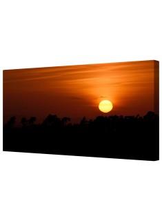 Golden Winter Sunset Framed Canvas Wall Art Picture