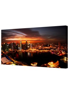 Singapore Night Skyline Framed Canvas Wall Art Picture