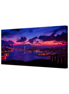 Harbour Night Cityscape Framed Canvas Wall Art Picture