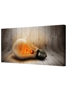 Glowing Red Lightbulb Framed Canvas Wall Art Picture