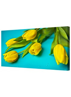 Yellow Tulip Flowers Framed Canvas Wall Art Picture