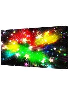 Abstract Multi-Colour Star Burst Explosion Framed Canvas Wall Art Picture