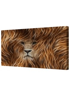 Abstract Gold Lion Face Framed Canvas Wall Art Picture