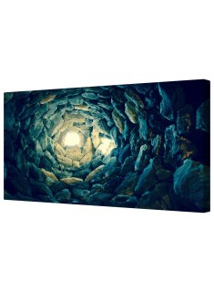 Blue Stone Tunnel of Light Framed Canvas Wall Art Picture