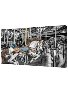 Funfair Horses Carousel Ride Black/White Framed Canvas Wall Art Picture