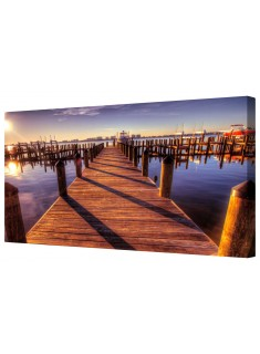 Wooden Dock Walkway Out To Sea Framed Canvas Wall Art Picture
