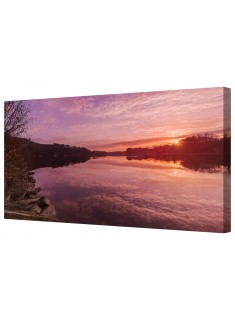 Sunrise Over Swiss Lake Schifenen Framed Canvas Wall Art Picture