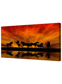 Dancing Wild Horses At Dusk Framed Canvas Wall Art Picture