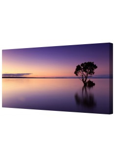 Purple Seascape Panorama Framed Canvas Wall Art Picture