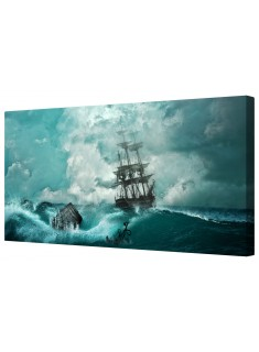 Pirate Ship At Sea Framed Canvas Wall Art Picture