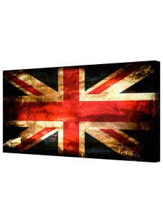 Retro Union Jack Flag Framed Canvas Wall Art Picture
