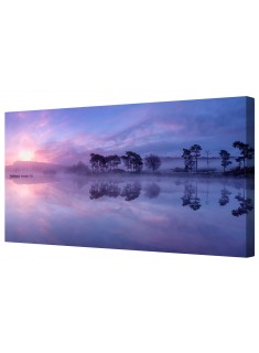 Blue Mountain Lake Sunset Canvas Wall Art Picture