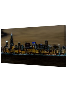 Chicago Skyline At Night Framed Canvas Wall Art Picture